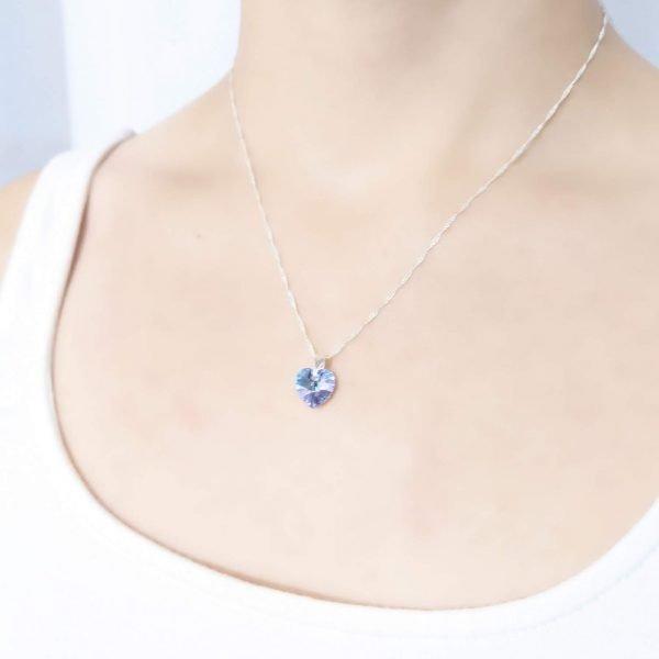 Collar Swarovski Corazón Aquamarine
