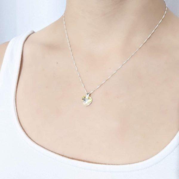 Collar Swarovski Corazón Aurora Boreal