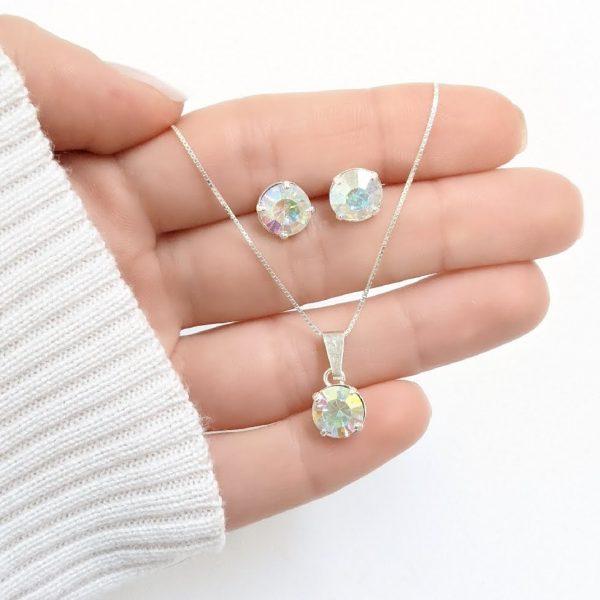 Conjunto collar y aros cristal