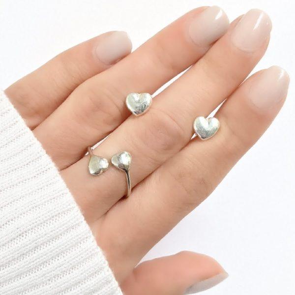 conjunto anillo y aros corazón