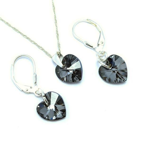 conjunto swarovski silver nigth