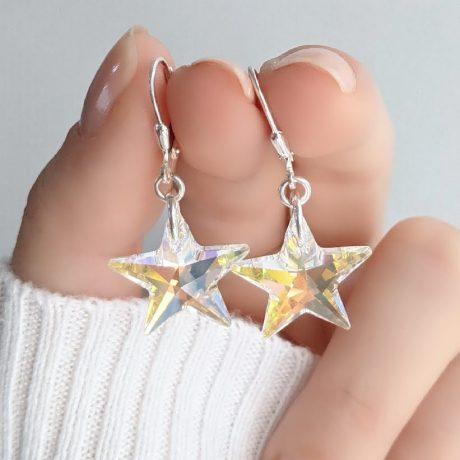 Aros Swarovski estrella Aurora Boreal 18mm