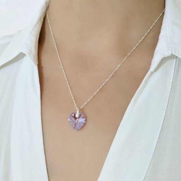Collar Swarovski Corazón light amethyst 14mm
