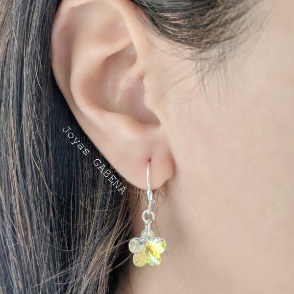 aros flor swarovski