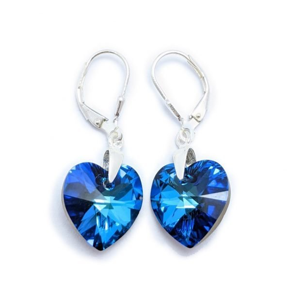 Aros Cristal Swarovski corazón bermuda blue 14mm