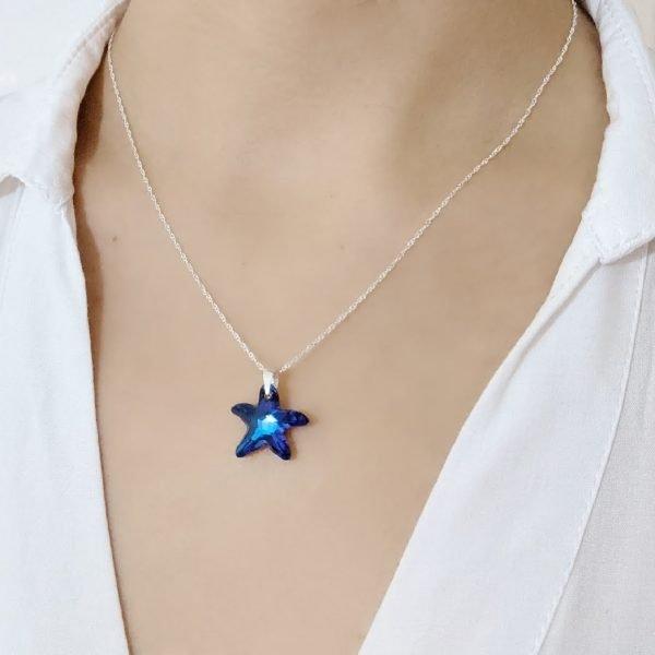 collar swarovski estrella de mar bermuda blue