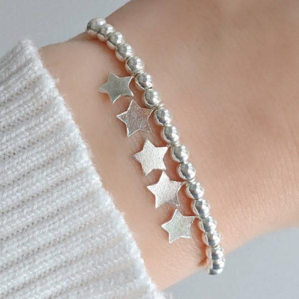 Pulsera Ajustable Bolitas y Estrellas Plata 925