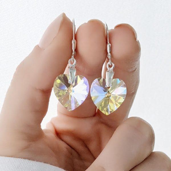 Aros Swarovski Corazón Aurora Boreal 14mm Plata