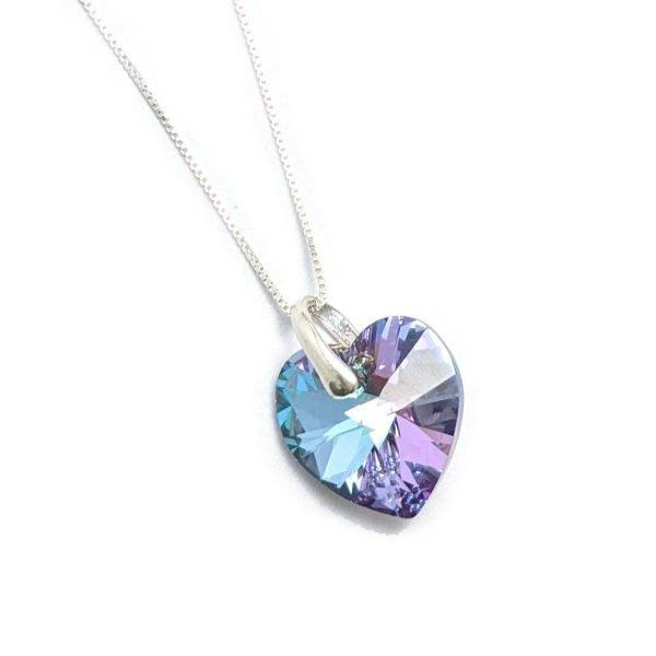 Collar Cristal Sw corazon 14mm con cadena veneciana de 45cm