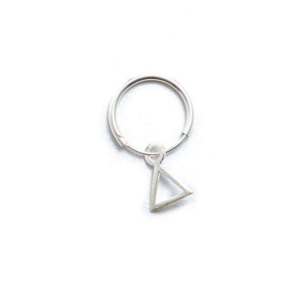 Aro argolla solitario triangulo 12mm
