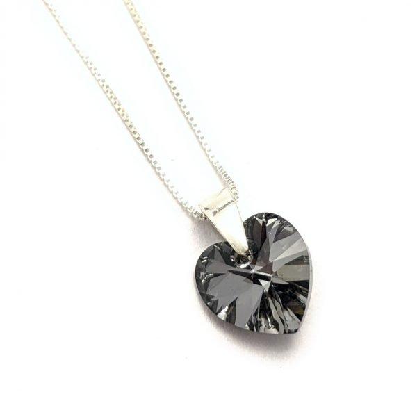 Collar Cristal Swarovski corazon 10mm silver night