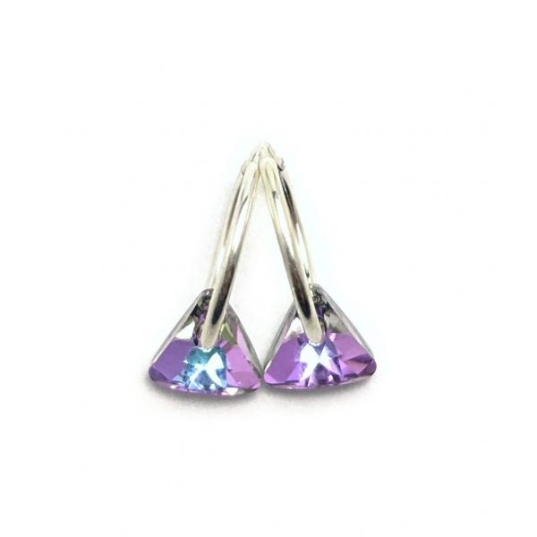 Aros Cristal Swarovski cubanos triangulo