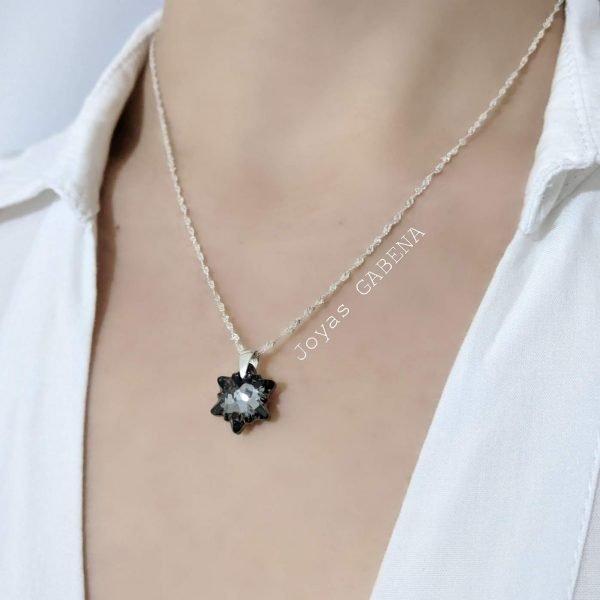 collar swarovski edelweiss silver night 14mm