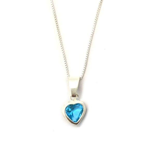 Collar corazón cristal aquamarine